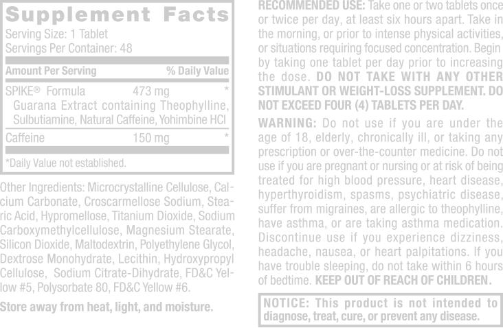 Spike-Tablets Supplement Facts