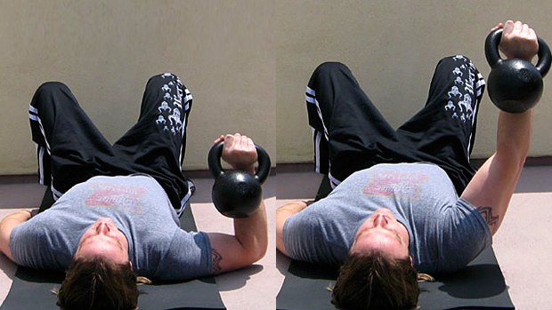 Dumbbell Floor Press flared